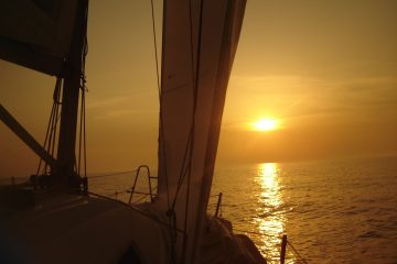 Sunset sailing from Split